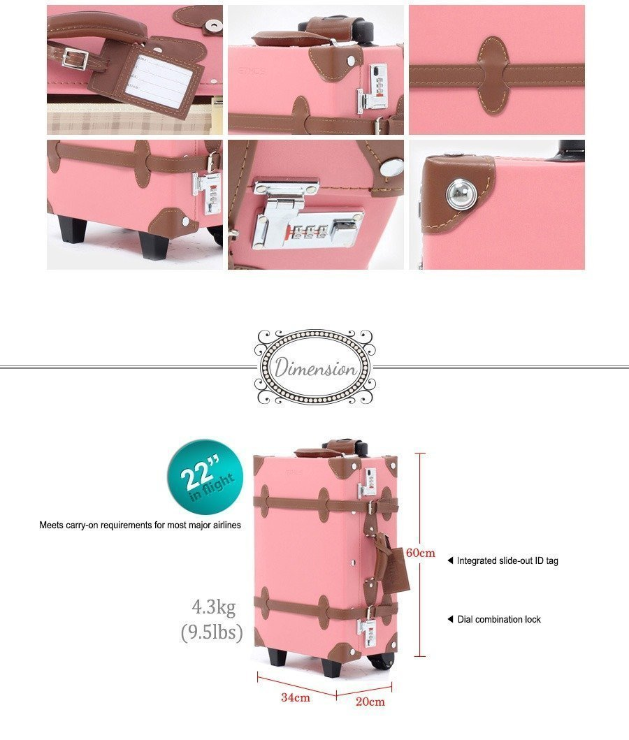 NEW EDDAS Ethos Vintage Style 22'' Luggage PINK BROWN Synthetic Leather Carry on Suitcase