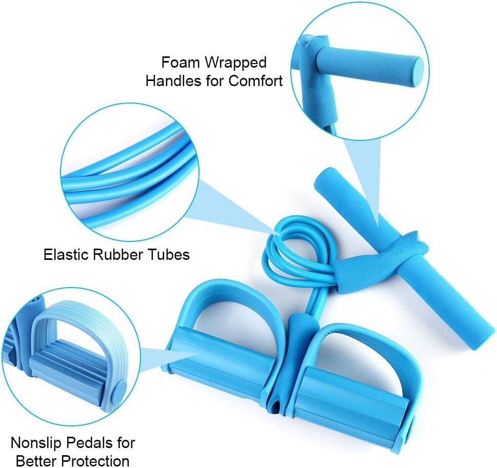 Geenber Elastisches Sit-Up-Zugseil Bauchtrainer Stretching Slimming Training Yoga Ausr/üstung Sit-Up Zugseil mit Fu/ßpedal Fitness 4 Schl/äuche elastisch