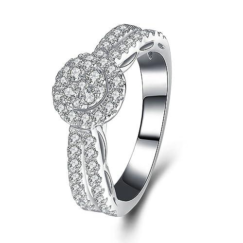 (compromiso anillos) Adisaer plateado anillos para las mujeres boda bandas círculos concéntricos circonitas cúbicas: Amazon.es: Joyería