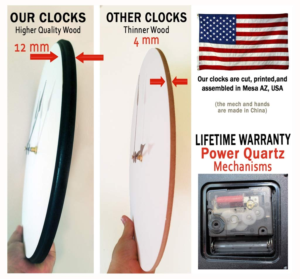 Harbor White Wall Clock, Available in 8 Sizes, Most Sizes Ship 2-3 Days,