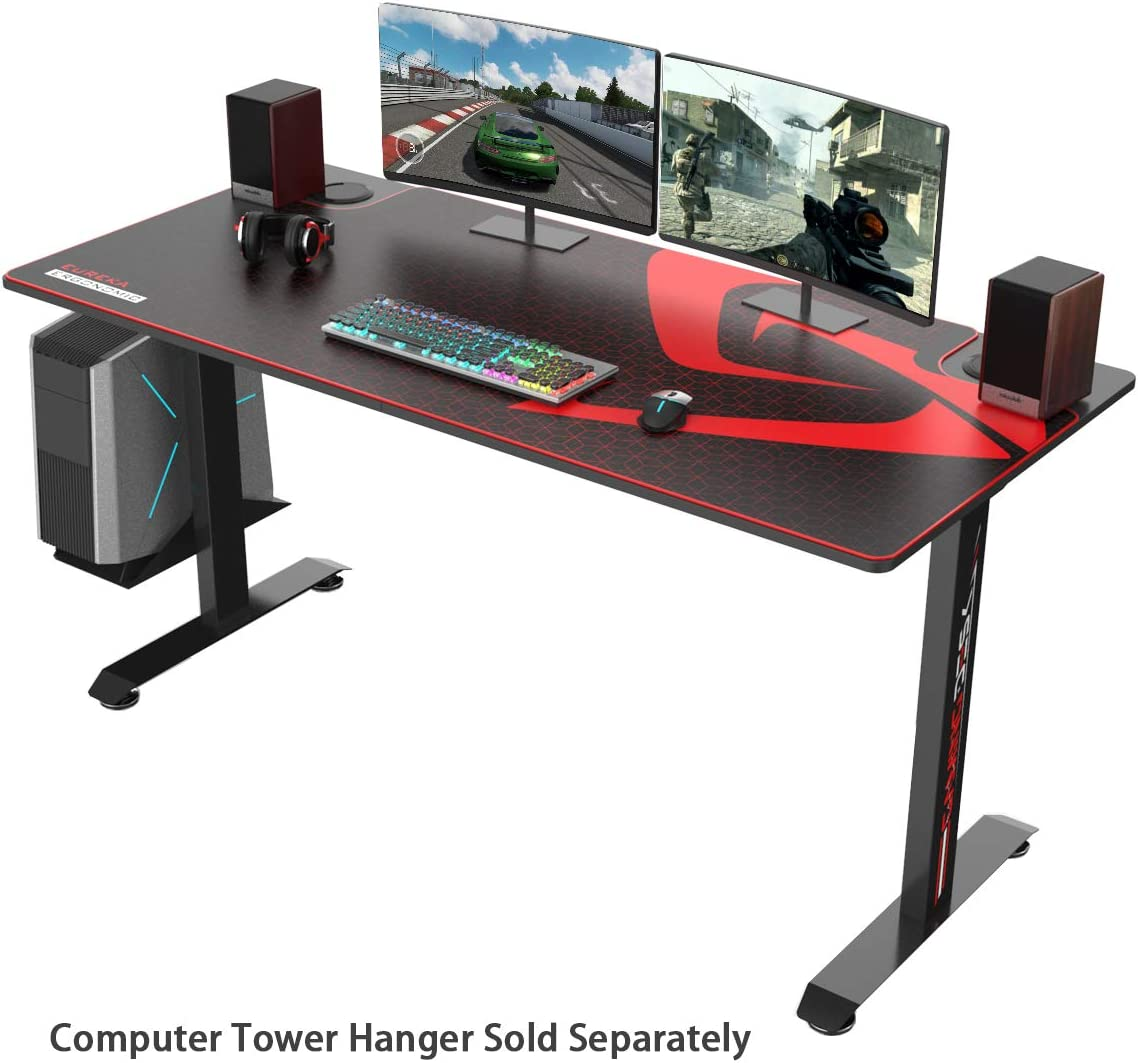 EUREKA ERGONOMIC 2 Person Racing Gaming Desk Large Gamer Desks 5ft Long 27.6in Wide , T-Shaped Office PC Computer Desk with Full-Size Mouse Pad, Popular Gift for Son Boyfriend E-Sports Lover