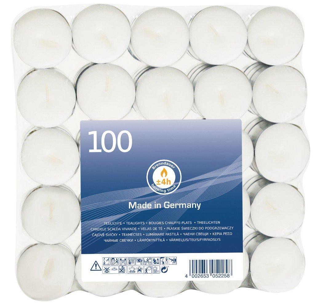 Teelichter 8 Stunden Brenndauer weiß Ø 39 x 22 mm  50 Stück pro Beutel