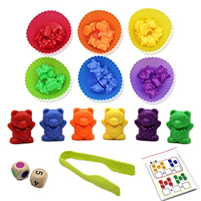 Youthful Counting Bears with Stacking Cups - 46 PCS, Rainbow Bear Counters with Matching Sorting Cups Set, Montessori Rainbow Matching Game, Educational Color Sorting Toys for Toddlers (Set 1): Toys & Games