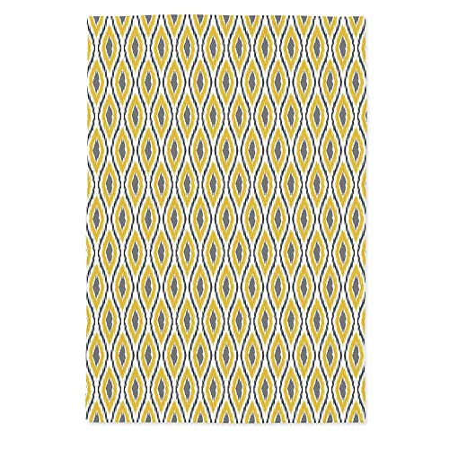 TecBillion Ikat Decor Polyester Tablecloth,Oval and Double Ancient Zigzag Ikat Motifs Exotic Ethnic Japanese Culture Design for Wedding Banquet Restaurant,60''W X 84''L