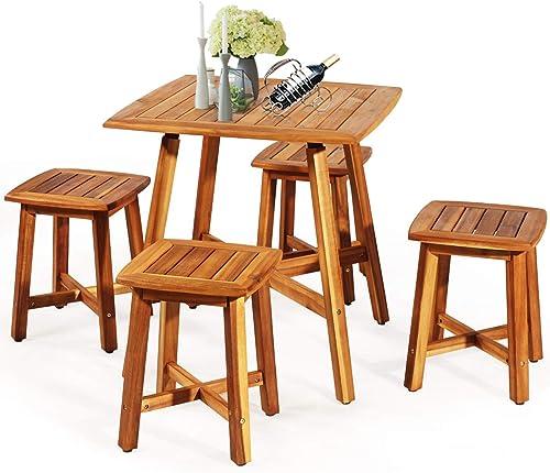 Tangkula 5 Piece Wood Patio Dining Set