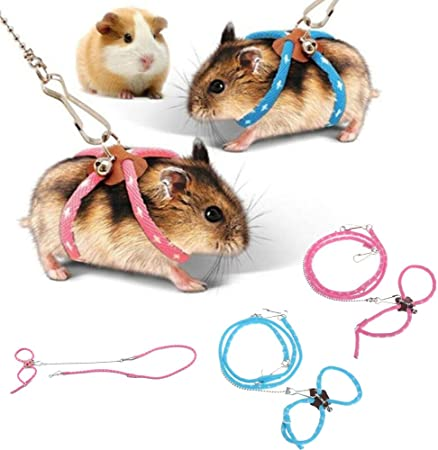 Zhuangyulin6 1pc Hamster Harness Rope Pet Hamster Harness Lovely Adjustable Pet Rat Mouse Hamster Harness Rope Ferret Finder Lead Leash With Bell Blue Amazon Co Uk Luggage
