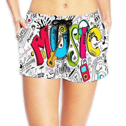 Ngxiuquq Women Yogurt Ice Cream White Yoga Boardshorts M Adjustable Beach Shorts