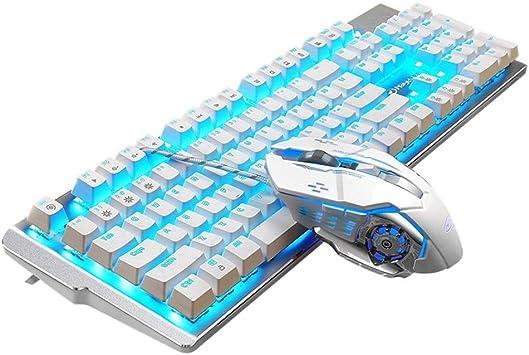 Elkeyko Juego de Teclado y ratón Combo Set Teclado mecánico Interruptor Azul Teclado Blanco Silent Gaming Mouse con luz de Fondo RGB: Amazon.es: Electrónica