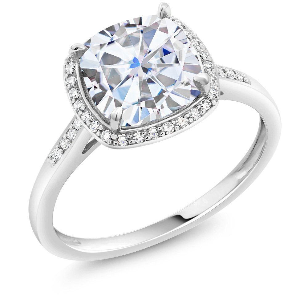 Charles & Colvard 2 Ct (8mm) Cushion Created Moissanite Diamond Accent Halo Engagement Ring in 10K White Gold