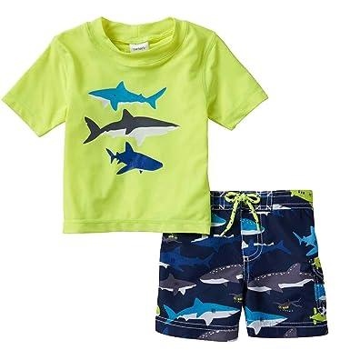 fce93aa125 Carter's Infant & Toddler Boys Shark Themed Rash Guard & Swim Trunks ...