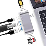 USB C Hub, SILIFUN [6 in 1] Type-C 3.1 USB C Adapter with 2 USB-C 3.0 Ports,SD/TF Card Reader,HDMI 4K&PD Charging for Macbook Pro,Micsoft 950XL,Google Chromebook and More Type C Devices (Space Gray)