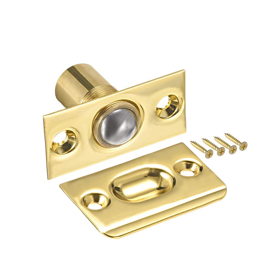 uxcell Adjustable Cabinet Closet Door Large Ball Catch w Strike Screws 54mm Length Brass Plated 2pcs