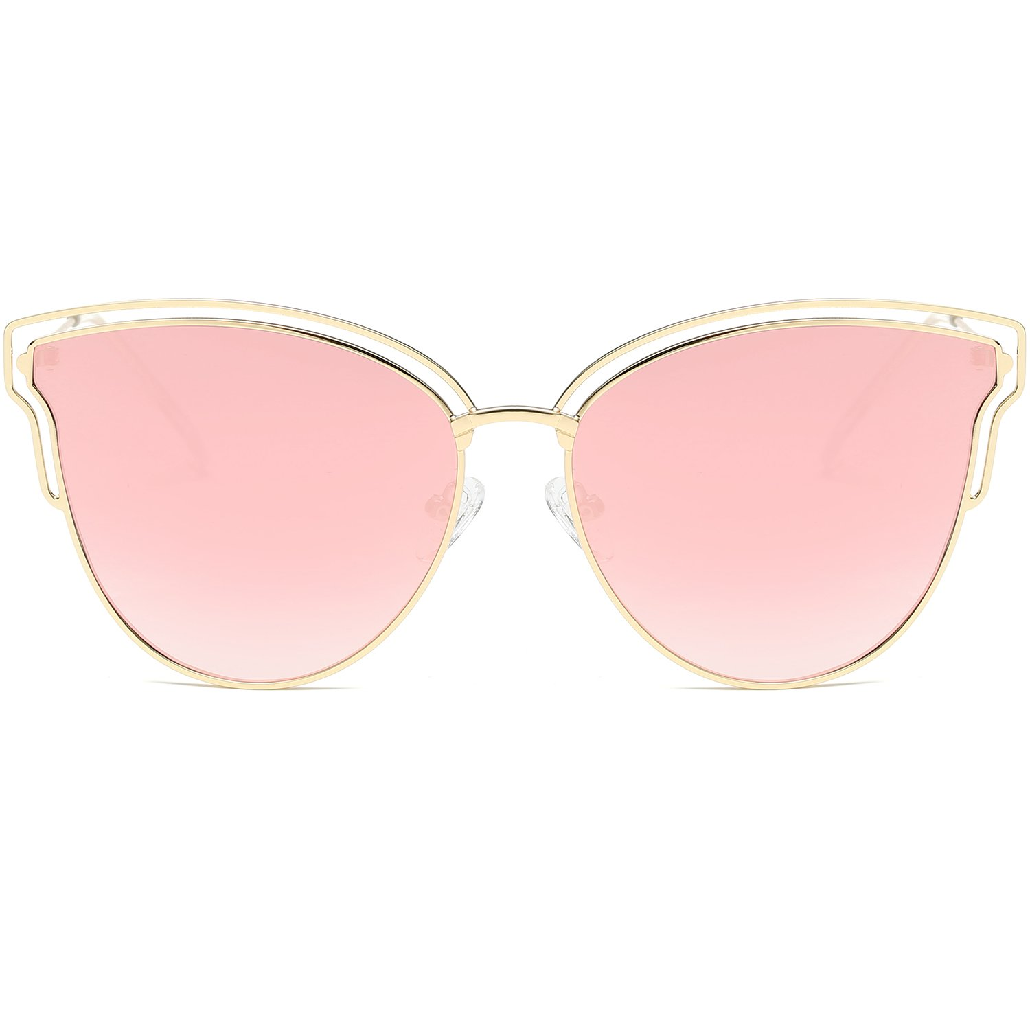 SOJOS Womens Fashion Double Wire Flash Mirrored Lens Cateye Sunglasses SJ1049 with Gold Frame/Pink Mirrored Lens by SOJOS