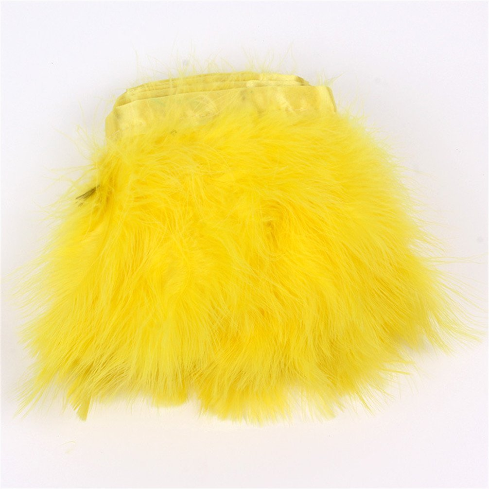 Turkey Marabou Hackle Fluffy Feather Fringe Trim Craft 6-8 in Width Pack of 2 Yards Pink1