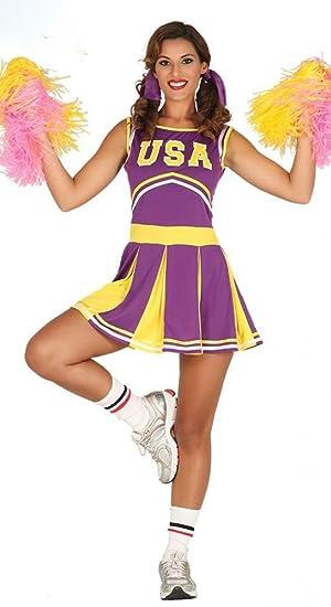 shoperama cheerleaderin para Disfraz de Mujer Morado/Amarillo Vestido Camiseta Sport Estados Unidos de Animadora