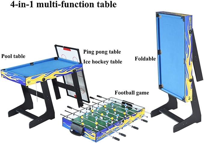 4-en-1 multi-función plegable mesa de billar ping pong mesa de hockey sobre hielo mesa futbolín juego de mesa para niños y adultos con tacos, pelota, tiza, estante, cepillo, 1 juego de tenis