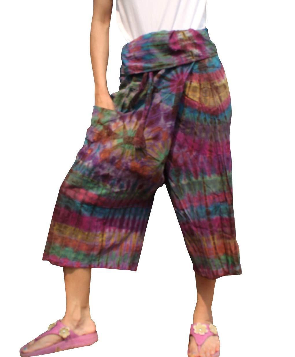 Full Funk Cotton Tie Dyed Natural Colorful Thai Fisherman Wrap 3/4 Leg Pants, Medium, English Violet by Full Funk