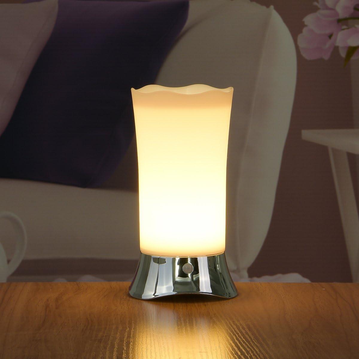 ZEEFO Lámparas de Mesa con Sensor Inalámbrico de Movimiento PIR, Luz de Noche(plata)
