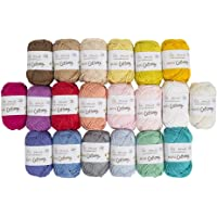20 Skein %100 Cotton Mini Yarn, Total 17.6 Oz Each 0.88 Oz (25g) / 65 Yrds (60m), Light, Dk, Worsted Assorted Colors…