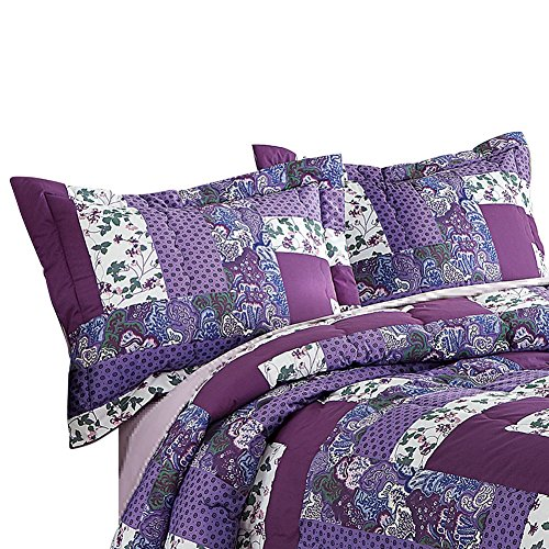 Collections Etc Caledonia Lavender Floral Patchwork 2 Piece