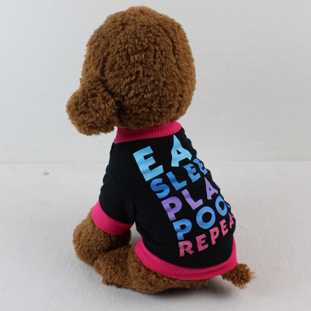 Dog Clothes, Pet Puppy Letter Apparel Cotton T-Shirt For Small Dog Boy (Black, S) by Wakeu Pet Supplies (Image #4)