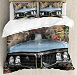 Cars Duvet Cover Set by Ambesonne, Graffiti Featured Graphic of Crashing Automobile on A Brick Wall Underground Street Style, 3 Piece Bedding Set with Pillow Shams, Queen / Full, Multi