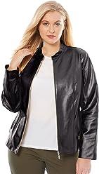 09739ca98fd4 Jessica London Women s Plus Size Zip Front Leather Jacket