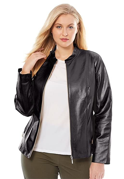 Jessica London Women's Plus Size Zip Front Leather Jacket - Black, 24 W
