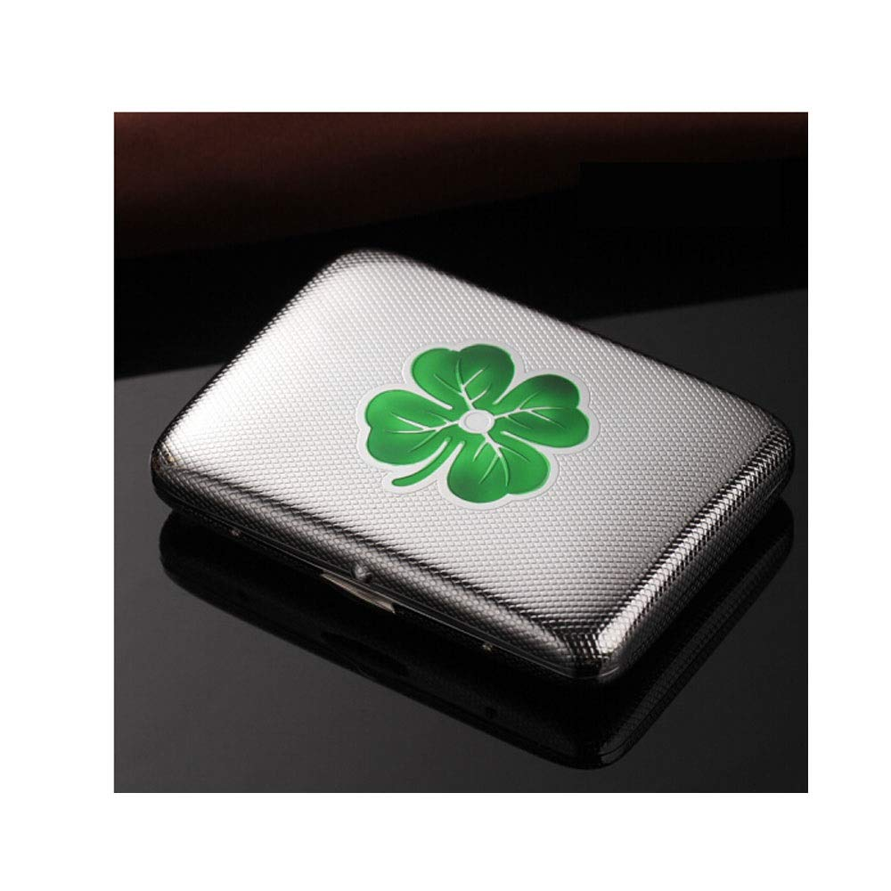 QINRUIKUANGSHAN Cigarette Case, Creative Four-Leaf Clover Metal Pure Copper Stainless Steel Fashion Men's Cigarette Case, 16 Packs of Smoking, The Latest Style