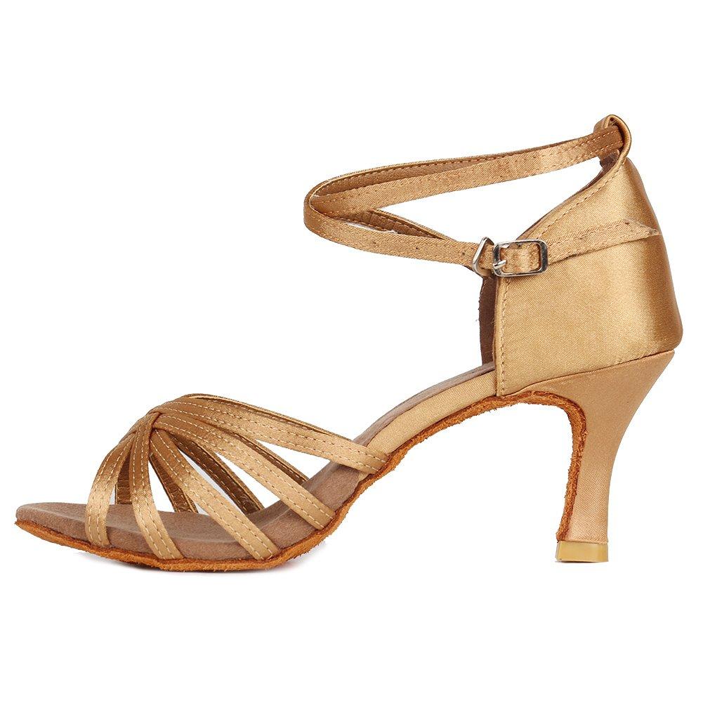 Roymall Women's Beige Satin Latin Dance Shoes,Model 213-7, 5 B(M) US