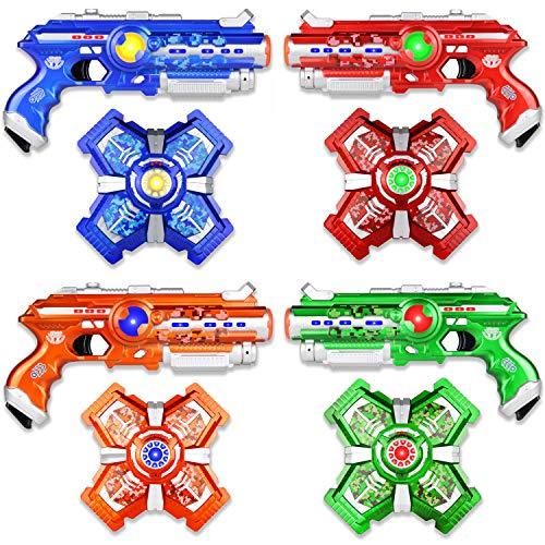 (Jiggle N Smiggle Laser Tag Sets with Gun and Vest - Futuristic Lazer Tag Gun Set with Adjustable Vests for Indoor & Outdoor Games - Laser Tag for Kids & Adults - Set of 4)