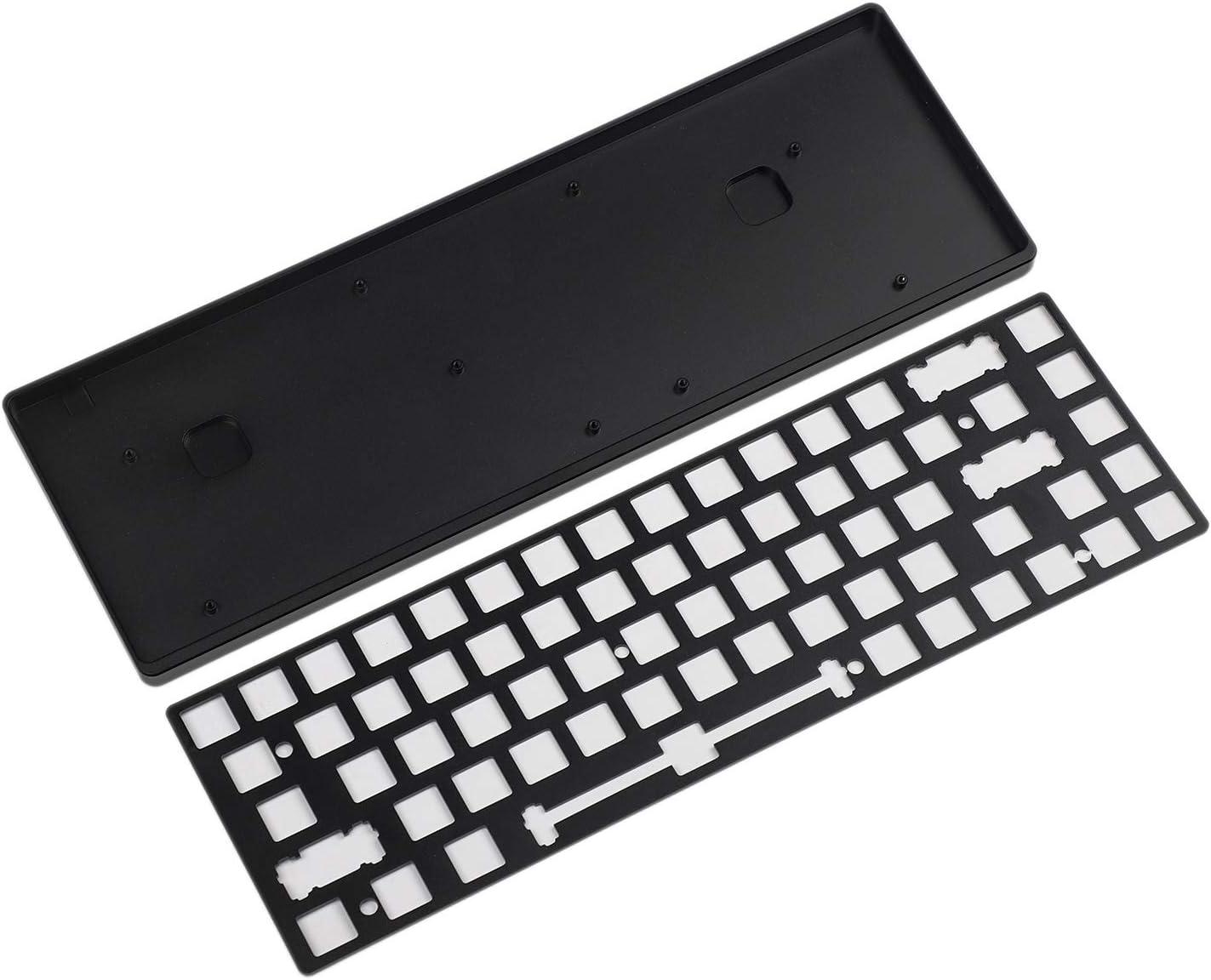YMDK Kit de Bricolaje de Teclado mecánico con estabilizadores PCB de Placa de Aluminio 68 CNC Totalmente programable Black Case Plate