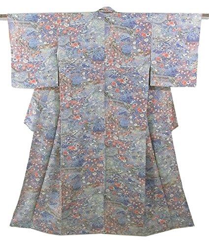 ラテン塊反射リサイクル 着物 小紋 流水に竹垣や四季の花々 正絹 袷 裄62.5cm 身丈158cm