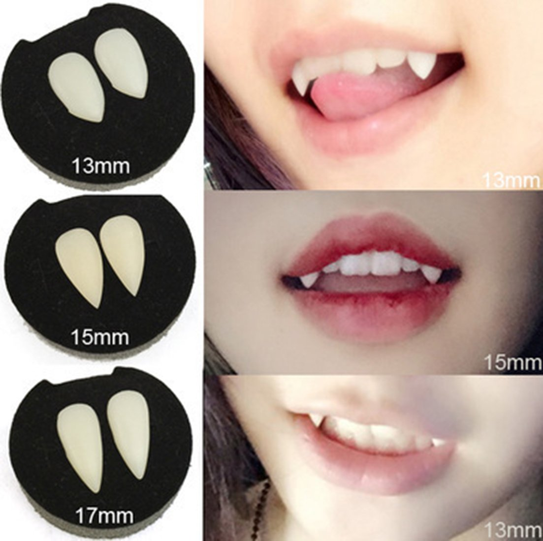 NIGHT-GRING Halloween Party Cosplay Prop Decoration Vampire Tooth Horror False Teeth -6 pieces