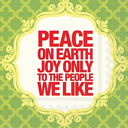 Ideal Home Range 20 Count Naughty Betty Cocktail Napkins, Peace on Earth