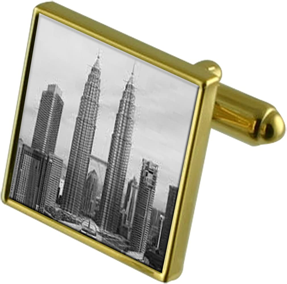 Select Gifts Tower Petromas Gold-Tone Cufflinks in Pouch