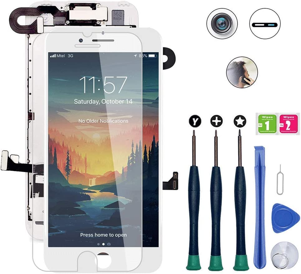 for iPhone 8 Screen Replacement, LCD Display 3D Touch Screen Digitizer Full Assembly with Proximity Sensor, Ear Speaker and Front Camera (Screen Replacement for iPhone 8 White)