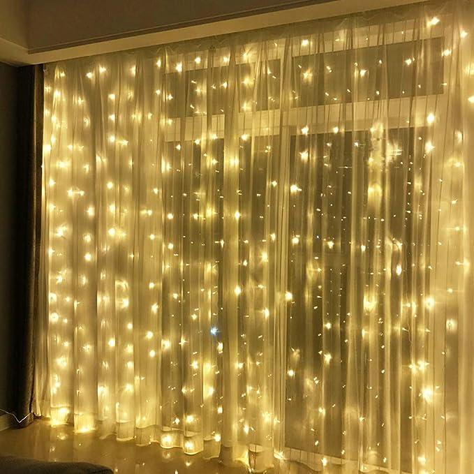 300 LED Lichterkette Warmweiß Innen 3x3Meter Lichtervorhang IP44 Weihnachten Fenster Außen 31V Verbindlich, Erinnerung 8 Lich