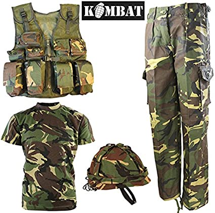 Kids Boys Girls Army Military Combat Uniform Tactical Jacket Shirts Pants Sets