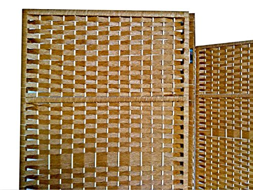 Urnporium Woven 4 Panel Room Divider with Solid Wood Frame