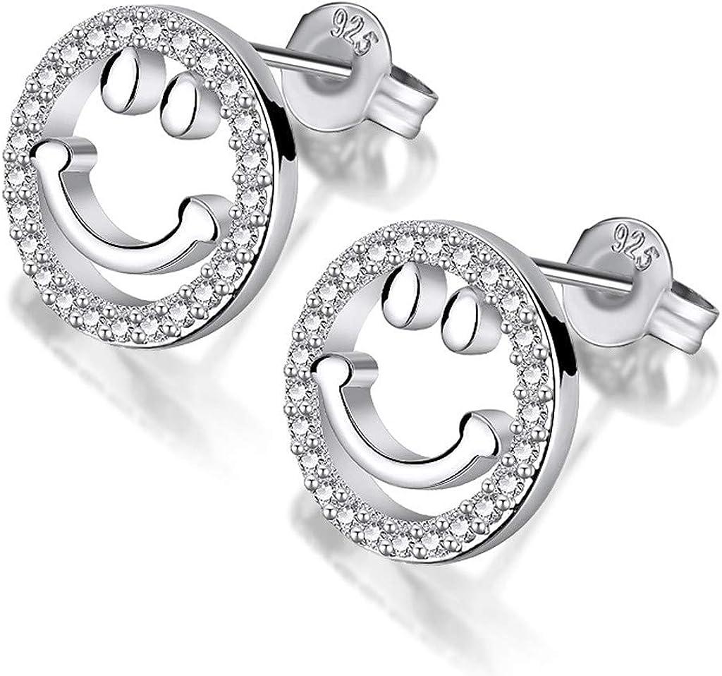 pour femme collier r/églable avec bo/îte cadeau de No/ël collier et boucles doreilles en argent plaqu/é or Ensemble de bijoux pour femme avec pendentif en forme de smiley fille