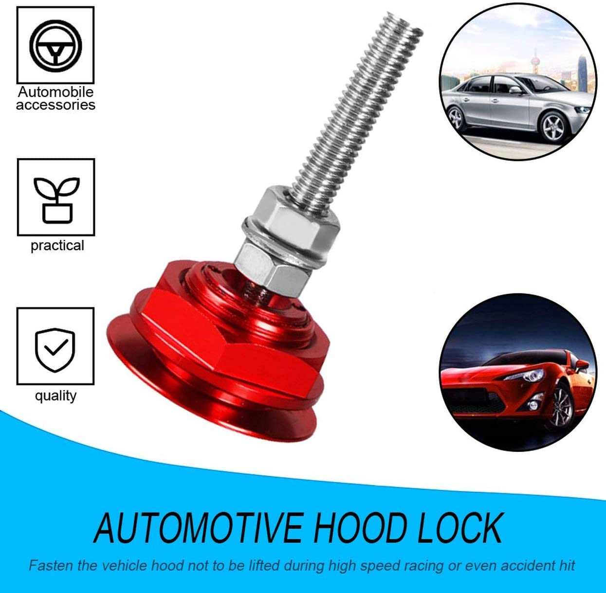 Detectorcatty Aluminum Alloy Mini Engine Hood Cover Lock Universal Push Button Billet Hood Pins Lock Clip Car Quick Latch for Auto Car