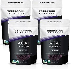 Terrasoul Superfoods Organic Acai Berry Powder, 1 Lb - Freeze-Dried | Antioxidants | Omega Fats