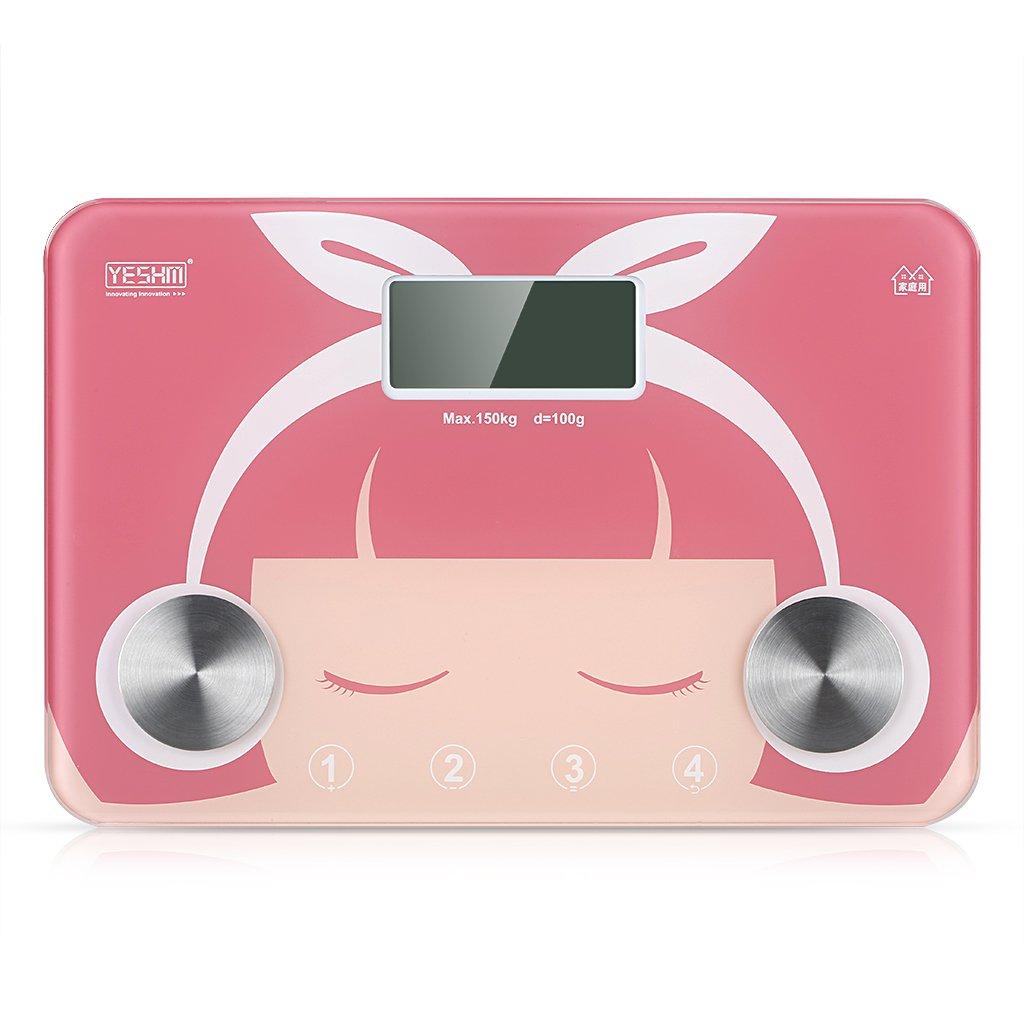 Yeshm YHF1540 - Bascula Digital de Baño con Precisión (Pantalla LCD, Medicion de Grasa Corporal, Agua Corporal, Masa Osea y Muscular), Rosa: Amazon.es: ...