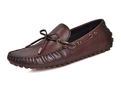 Top4man Mens Loafers Shoes Casual Genuine Cow Leather Comfort Slip-on Lace-up Driving Shoes 38-44