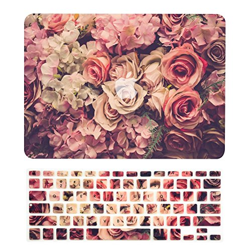 TOP CASE – 2 in 1 Floral Pattern Rubberized Hard Case + Keyboard Cover Compatible with MacBook Air 13 (13 Diagonally) A1369 / A1466 - Not Compatible 2018 Version A1932 Retina Display - Lavish Flor