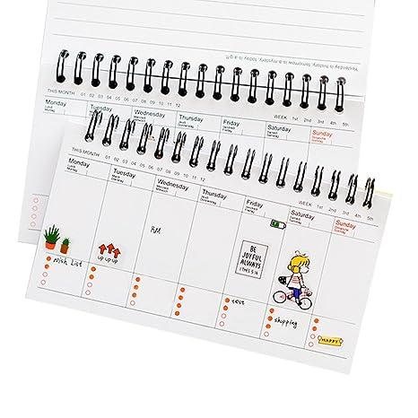 Amazon.com: Cuaderno de agenda Coxeer, calendario semanal de ...