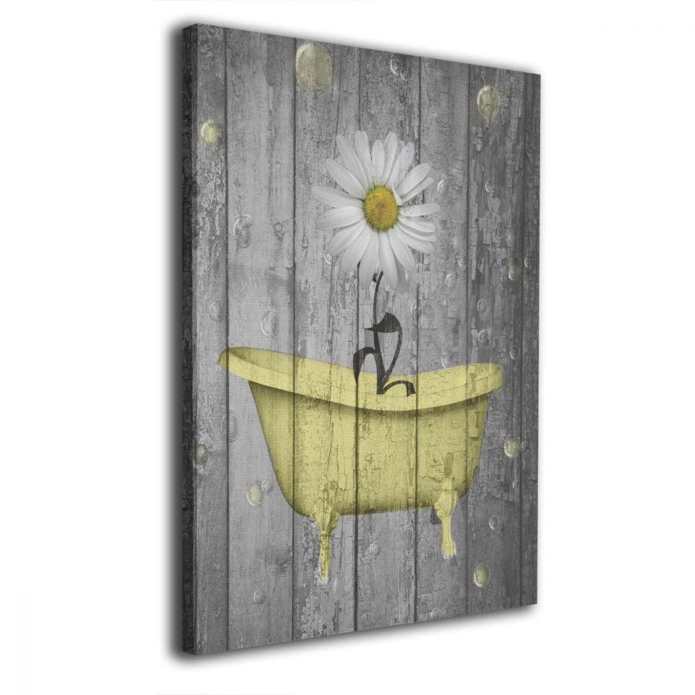Ale-art Rustic Bathroom Wall Art Daisy Flower Bubbles Yellow Gray Vintage Rustic 655543079688
