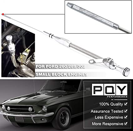 PQY Stainless Steel Flexible Engine Oil Dipsticks Braided Compatible with Ford 260 289 302 Mustang Truck Small Block