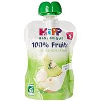 Hipp Biologique 100% Fruits Poires Bananes Kiwis dès 4/6 mois - 6 gourdes de 90 g